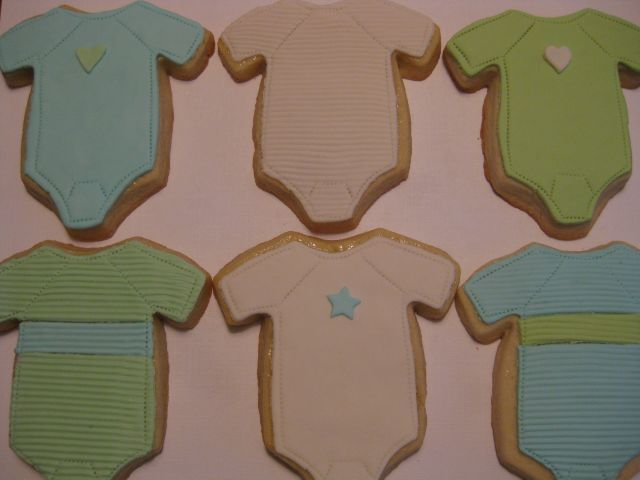 Large Baby Onesie Cookies - blue/green